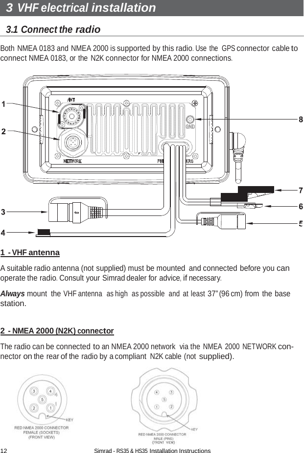 Navico Auckland HS35 2 4 GHz TRANSCEIVER User Manual Installation Manual