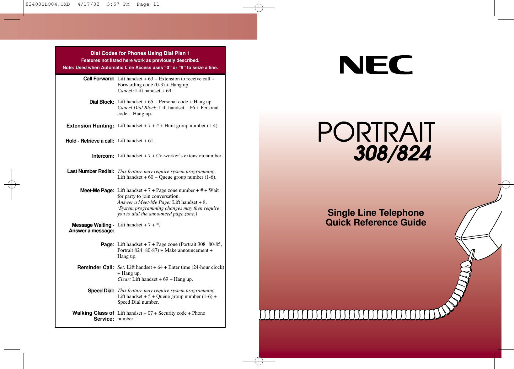 Nec 308 Users Manual 82400SLO04
