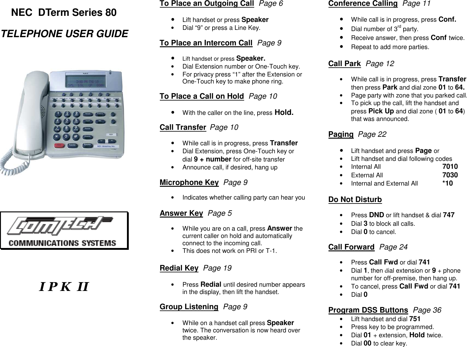 Nec Dterm Series 80 Owners Manual IPKII REFERENCE