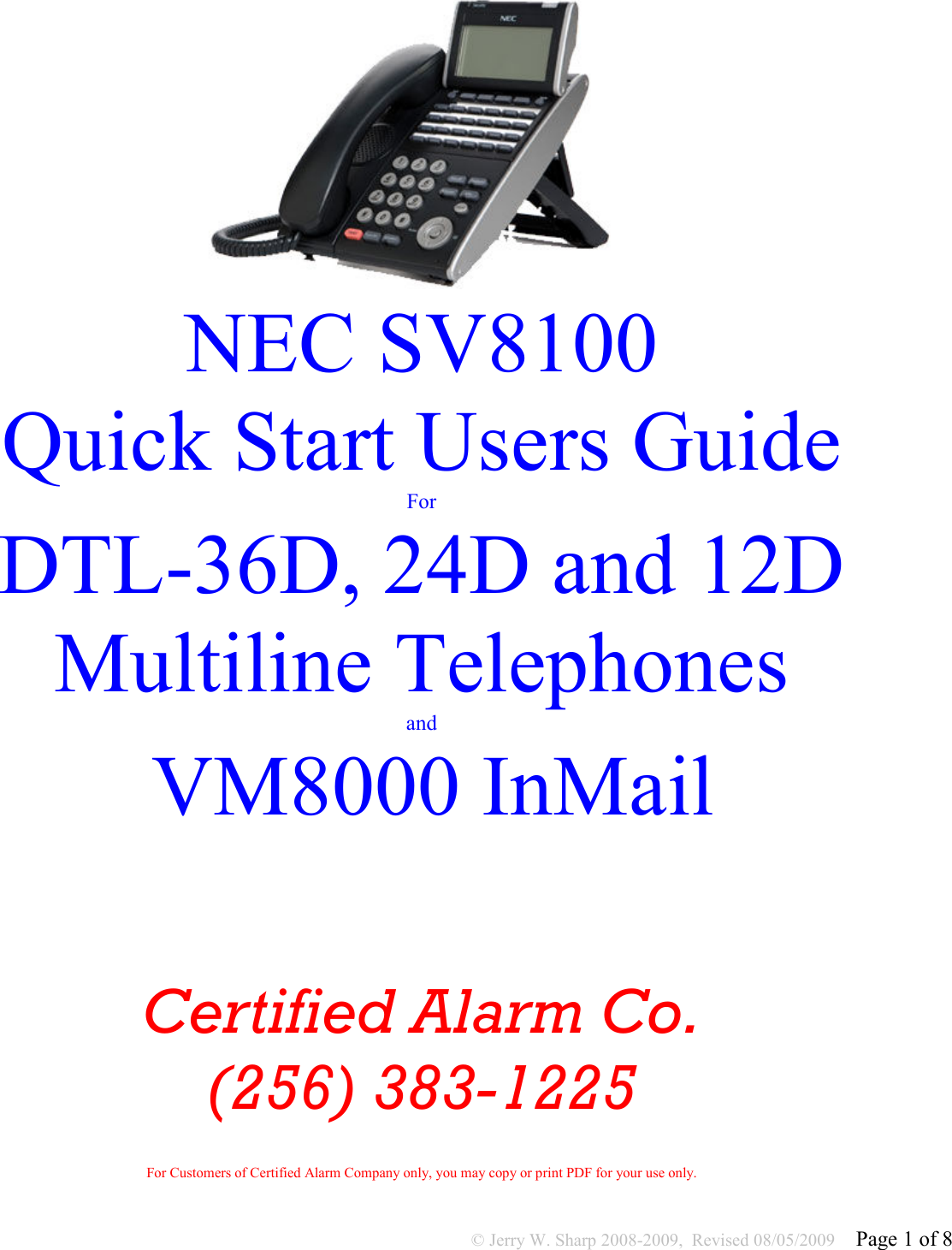 Nec Dtl 12D 1 Dt330 12 Button Display Users Manual SV8100