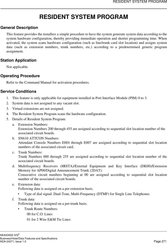 Nec Neax 2000 Users Manual NEAX2000 IVS2 Business/Hotel/Data
