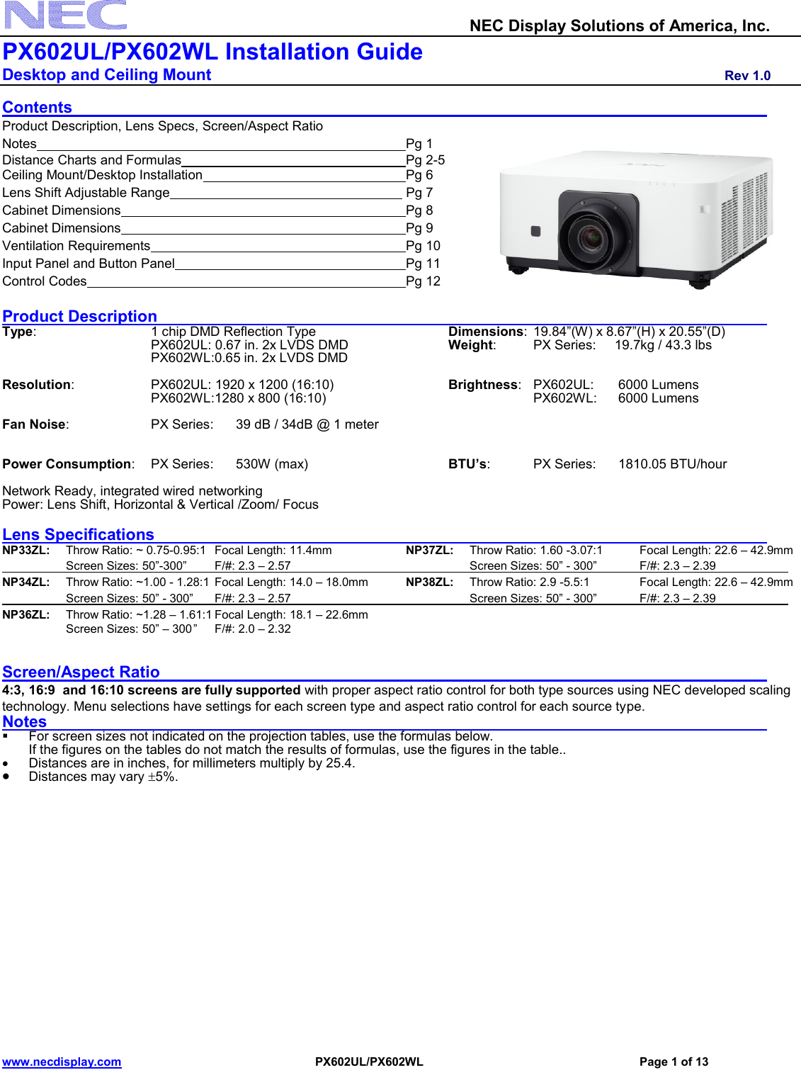 Nec Np Px602Ul Bk Installation And Setup Guide Visual Systems