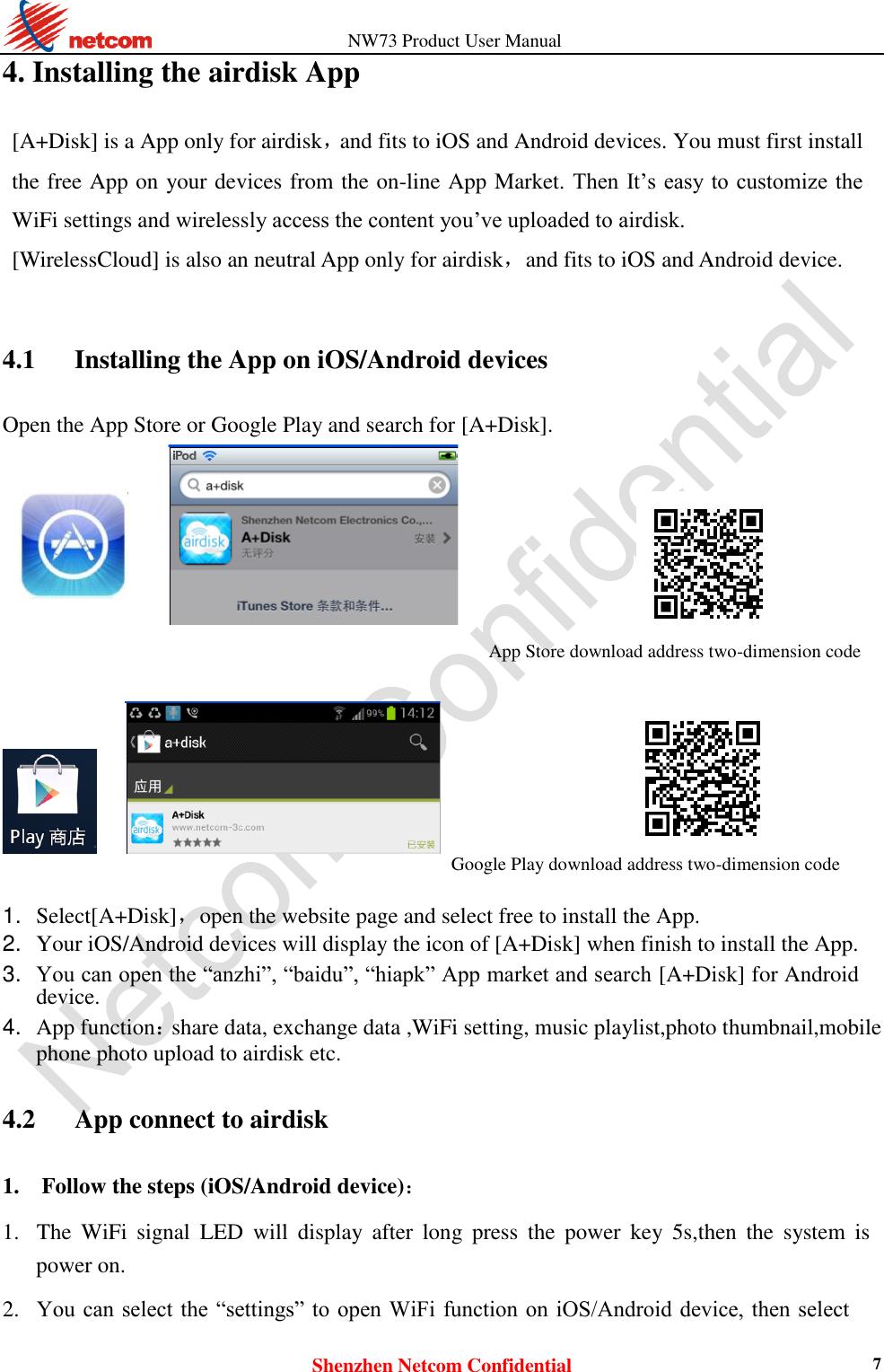 Netcom Electronics NW73 AIRDISK User Manual NC5803 802 11g n