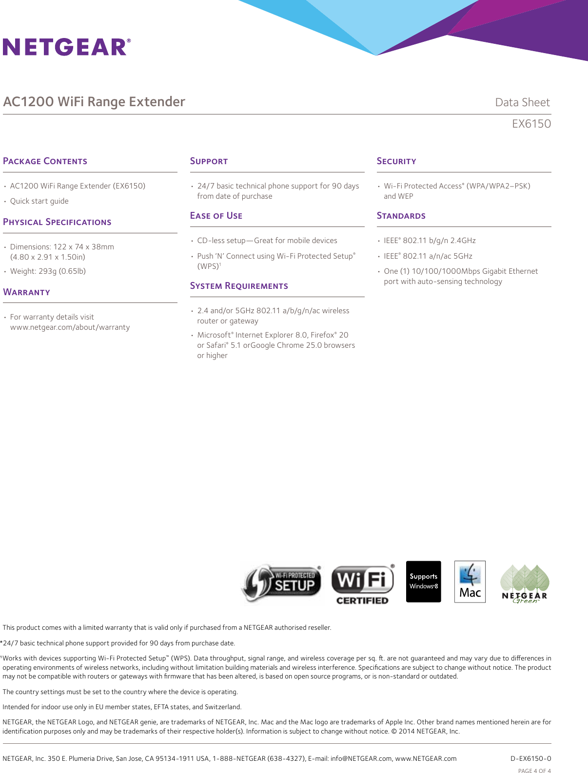 Netgear Ex6150 Data Sheet