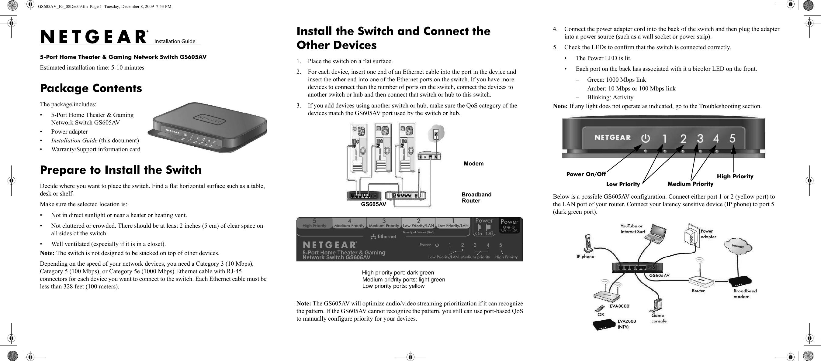 Netgear Home Theater Network Switch Gs605Av 100Nas Users Manual ...