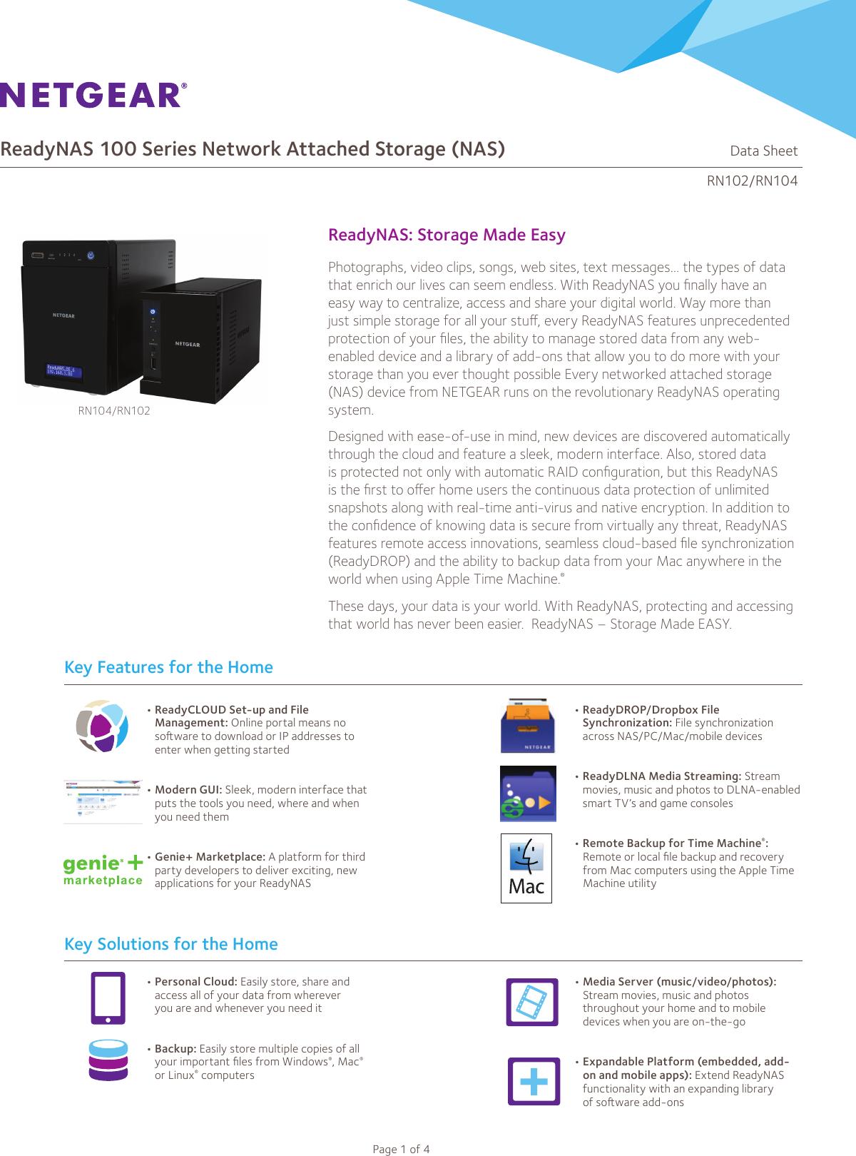 Netgear Readynas 102 2 Bay Rn10200 100Nas Users Manual