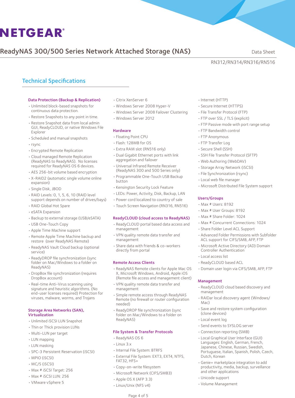 Netgear Readynas 312 Storage Rn31200 100Nas Users Manual