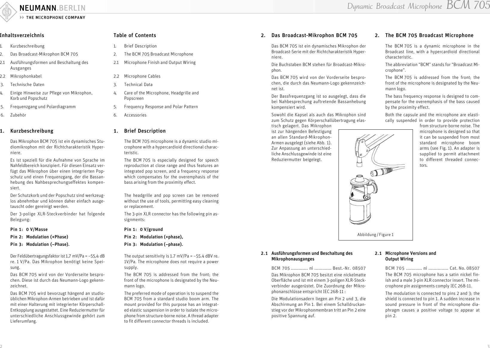 Neumann Berlin Bcm 705 Users Manual