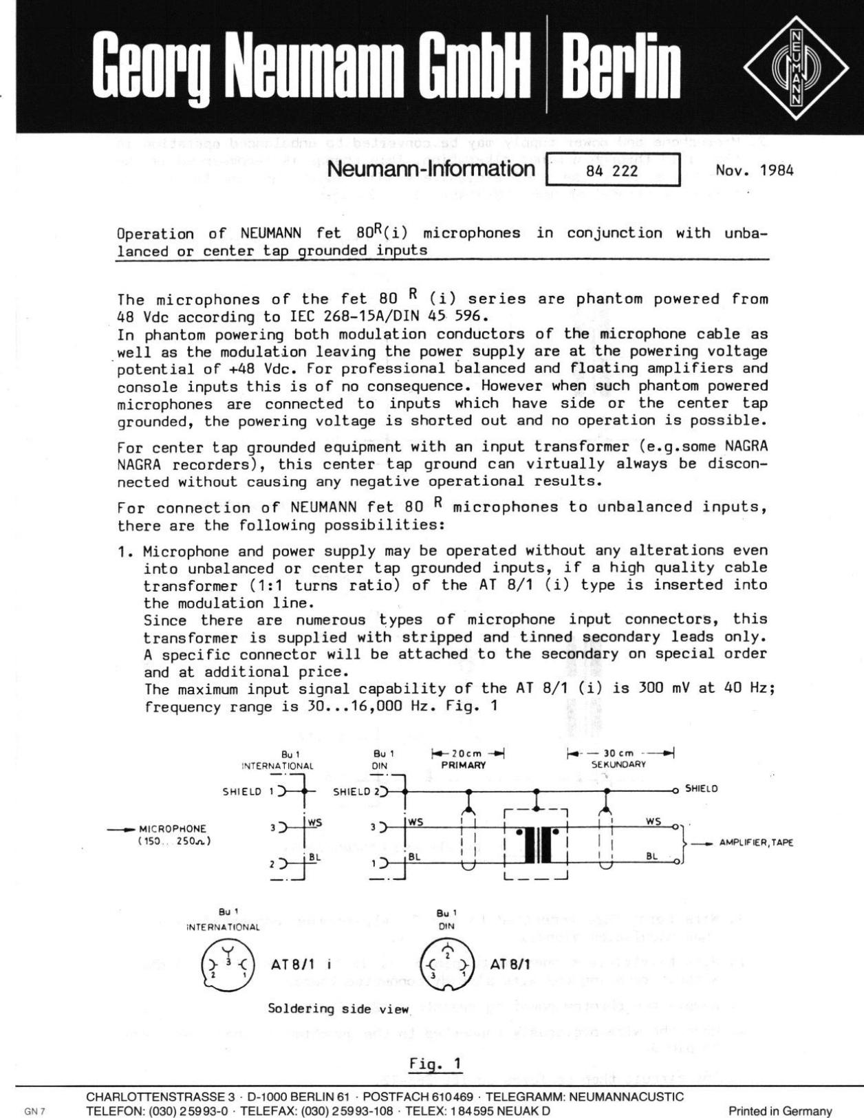 Neumann Berlin Fet 80R I Users Manual