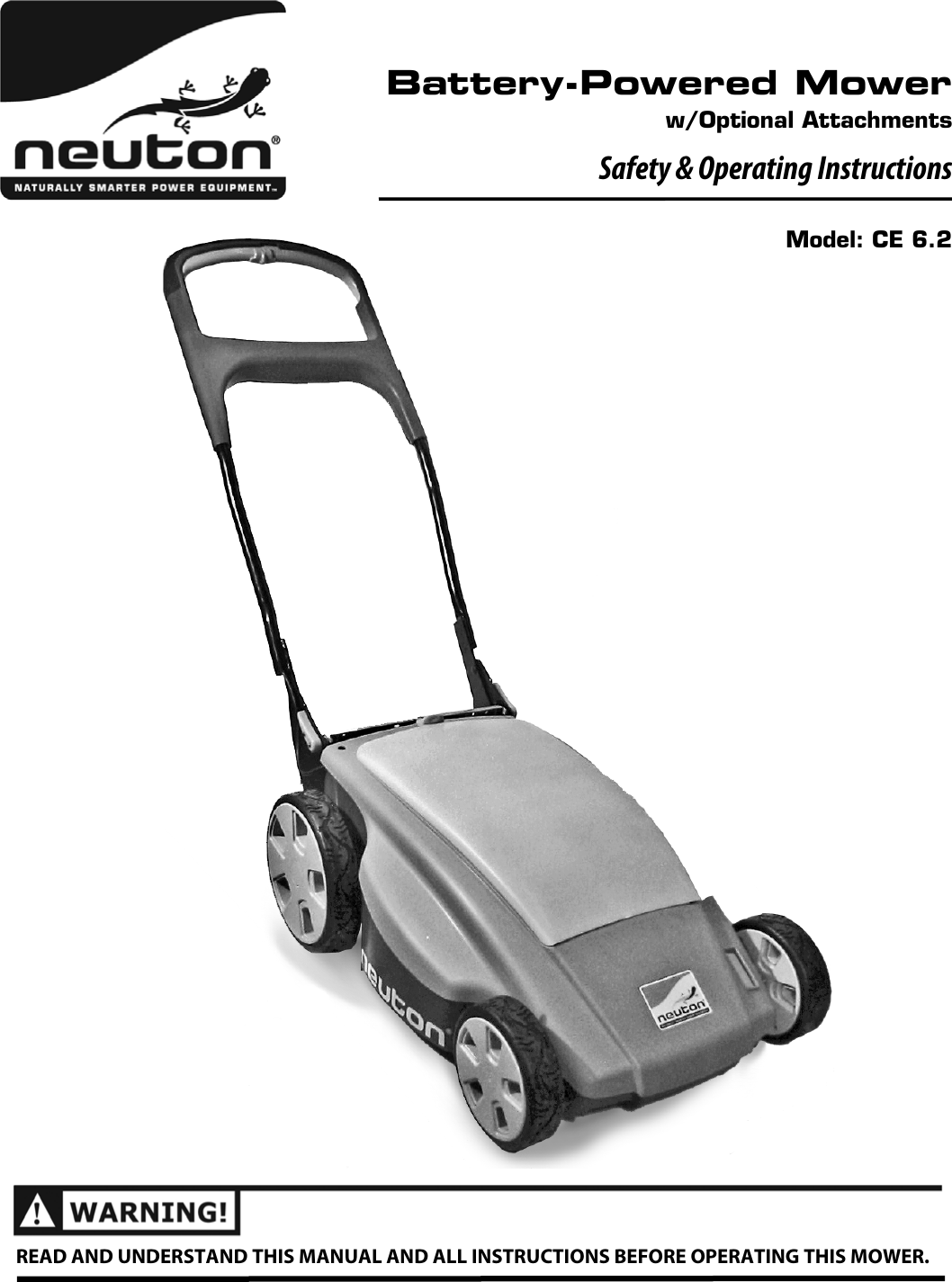 Neuton Ce 6 2 Users Manual 240481 Battery Powered Mower 62 So 0801 Cord Takeup Reel For Electric Lawn On Wiring A Extension