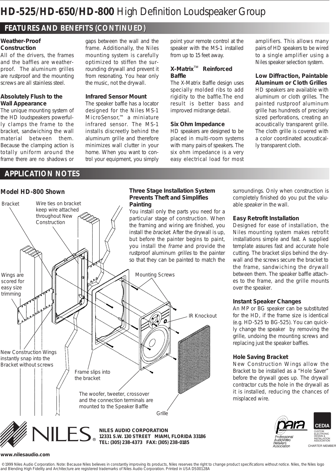 Niles Audio Hd 525 55 Hz To 21 Khz Users Manual Ds00128a Hd525 800 Cedia Wiring Diagram Page 2 Of