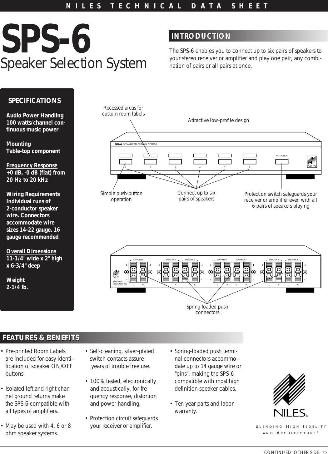 NILES AUDIO SPS6 Speaker Selection System
