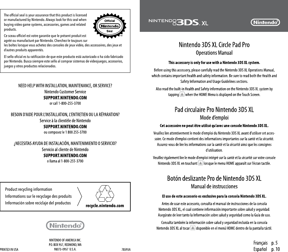 Nintendo 3ds Xl Circle Pad Pro Operation Manual Wiring Diagram