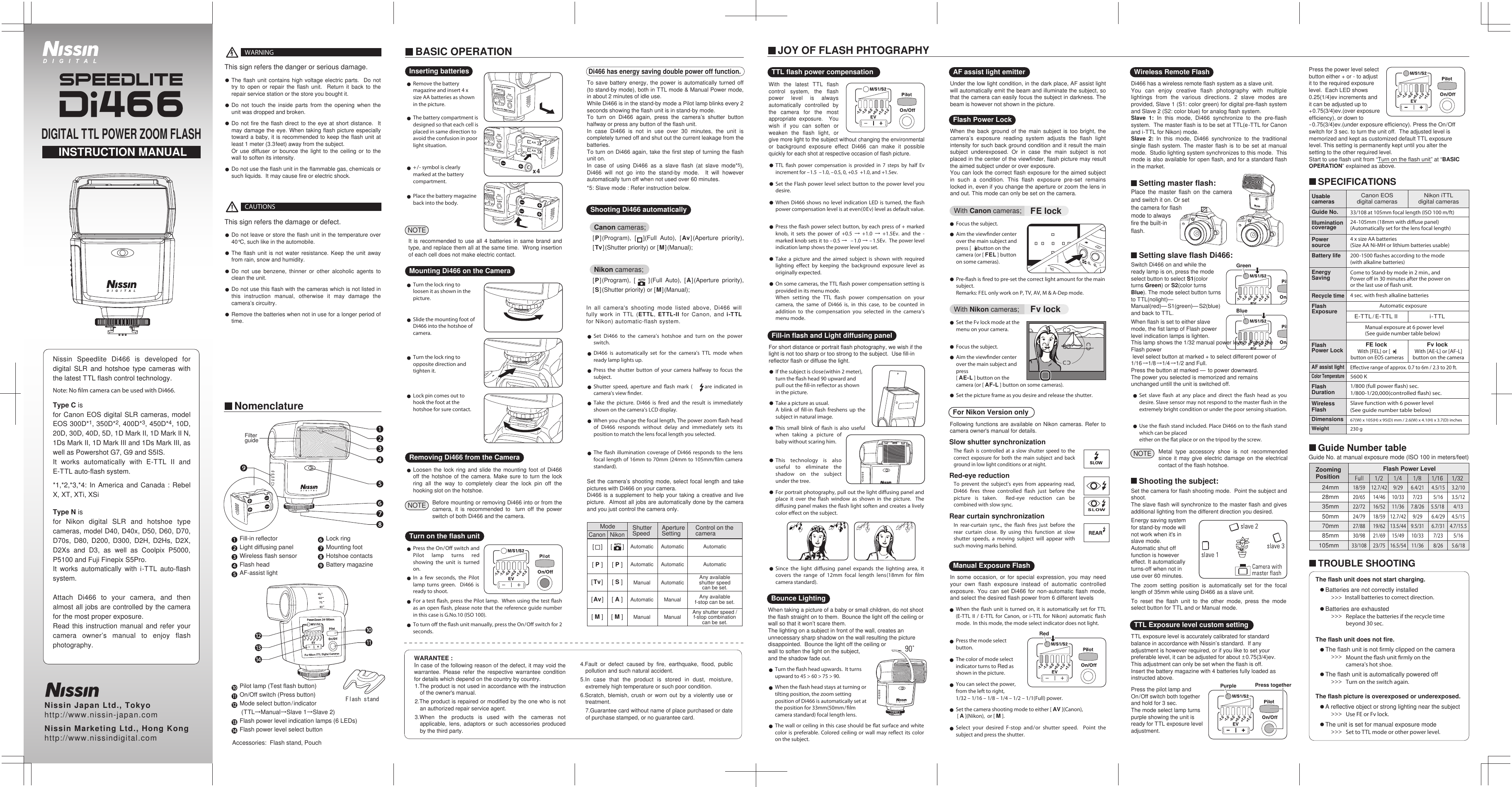 Nissin Di466 For Canon And Nikon Users Manual Di466_English