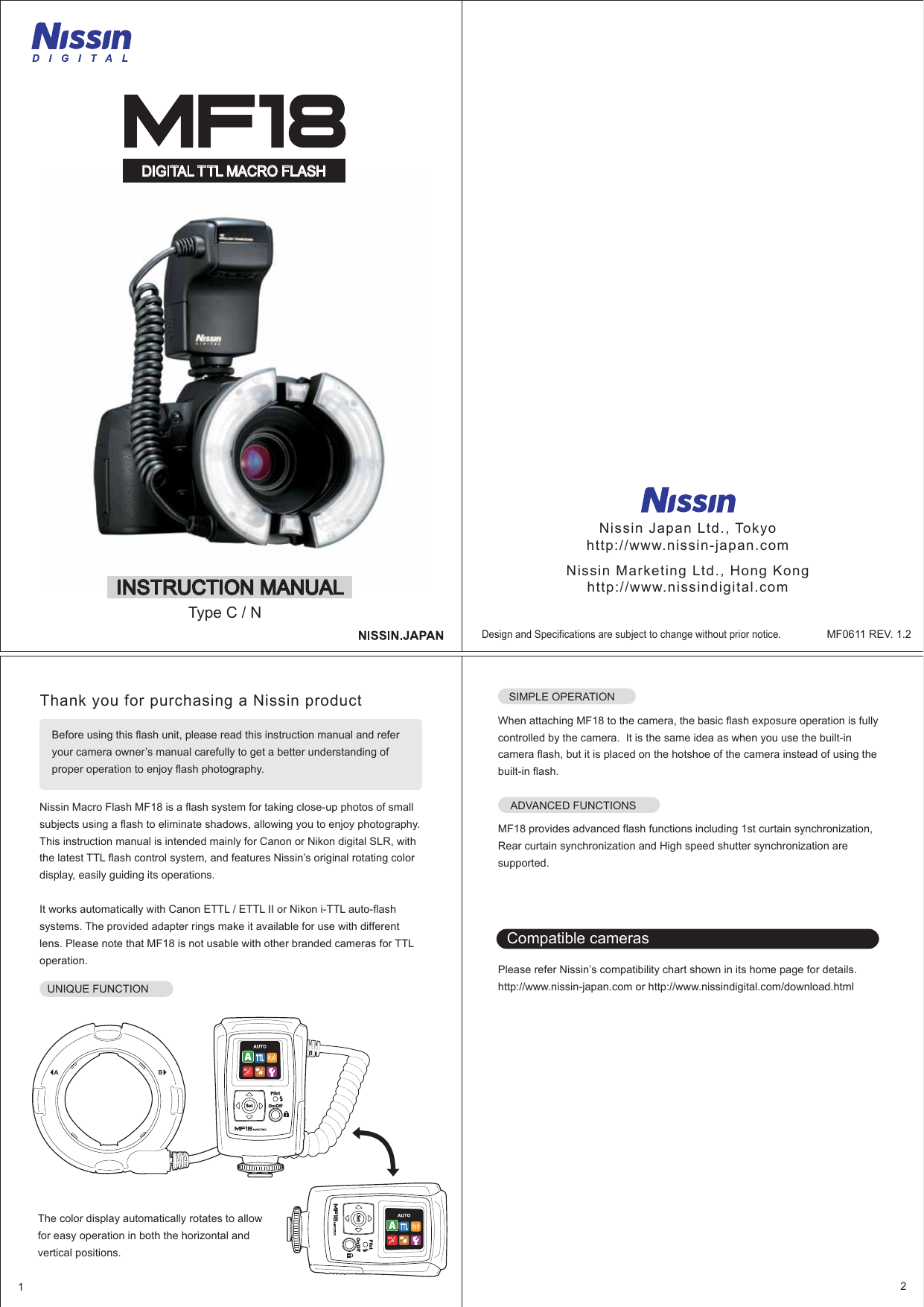 Nissin Mf18 Macro Ring For Canon And Nikon Users Manual