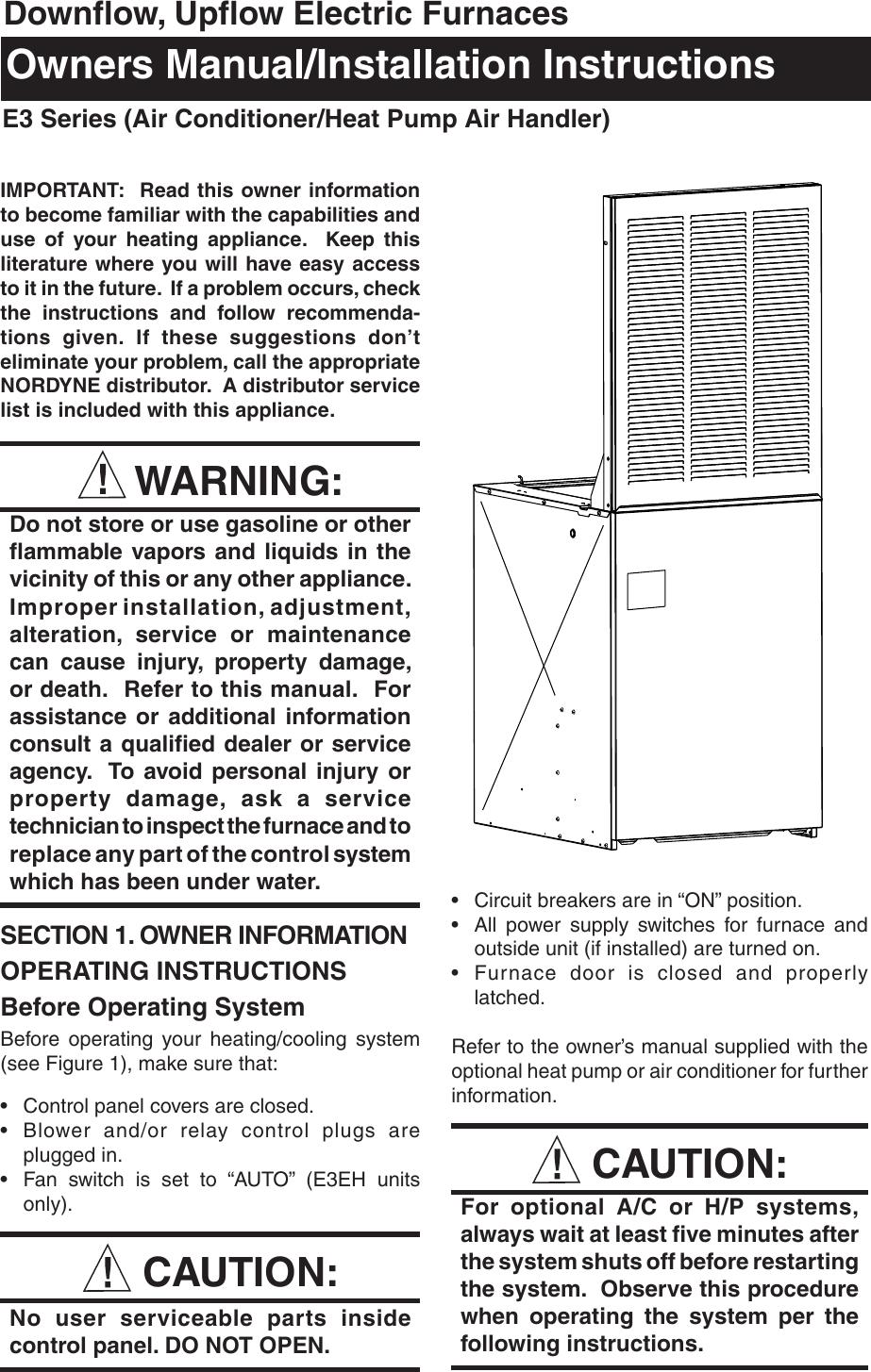 Nordyne E3 Users Manual 708827 0 Series Elec Furn on