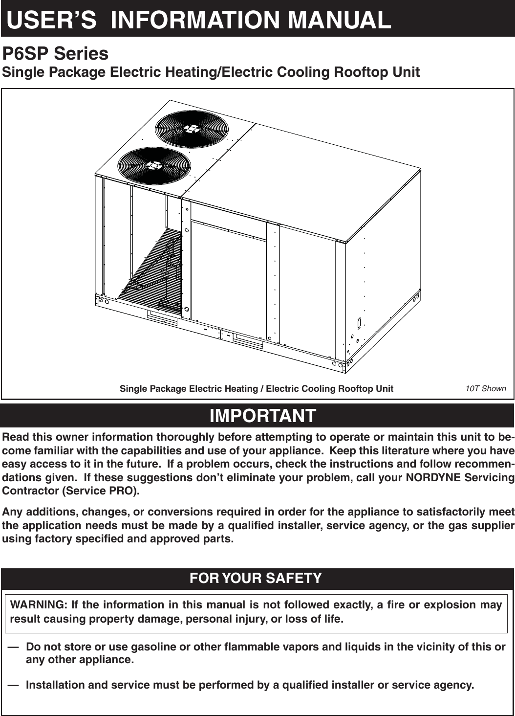Nordyne P6Sp Series Users Manual 708879 A User 120 Mammoth