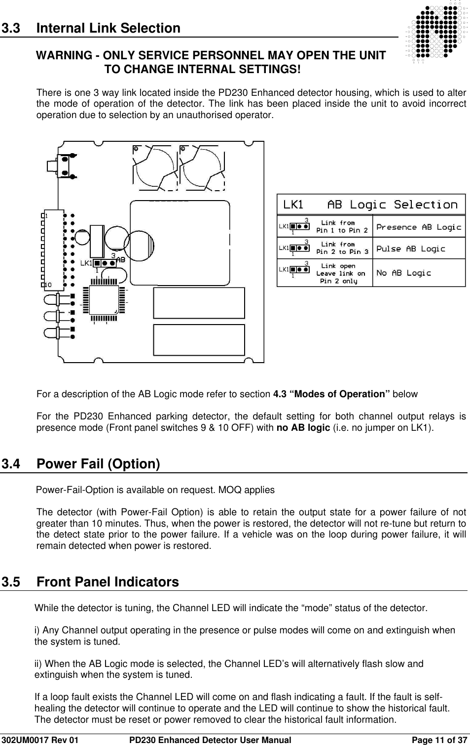 Nortech Pd230td236 Vehicle Detector User Manual 302um0017 01a Pd230 3 Way Switch History Rev 01 Enhanced Page 11 Of 37 33 Internal Link Selection