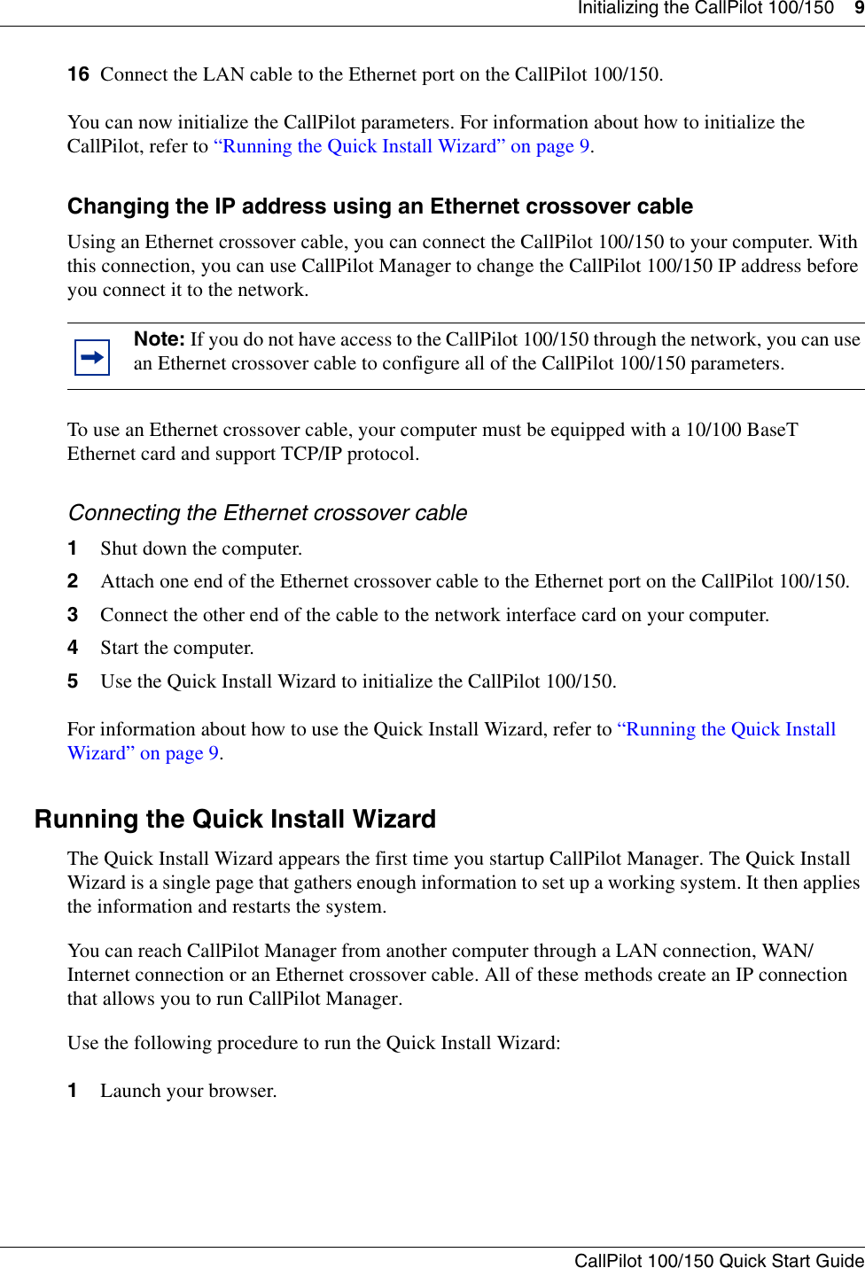 Nortel Networks Callpilot 100 Users Manual Call Pilot 100