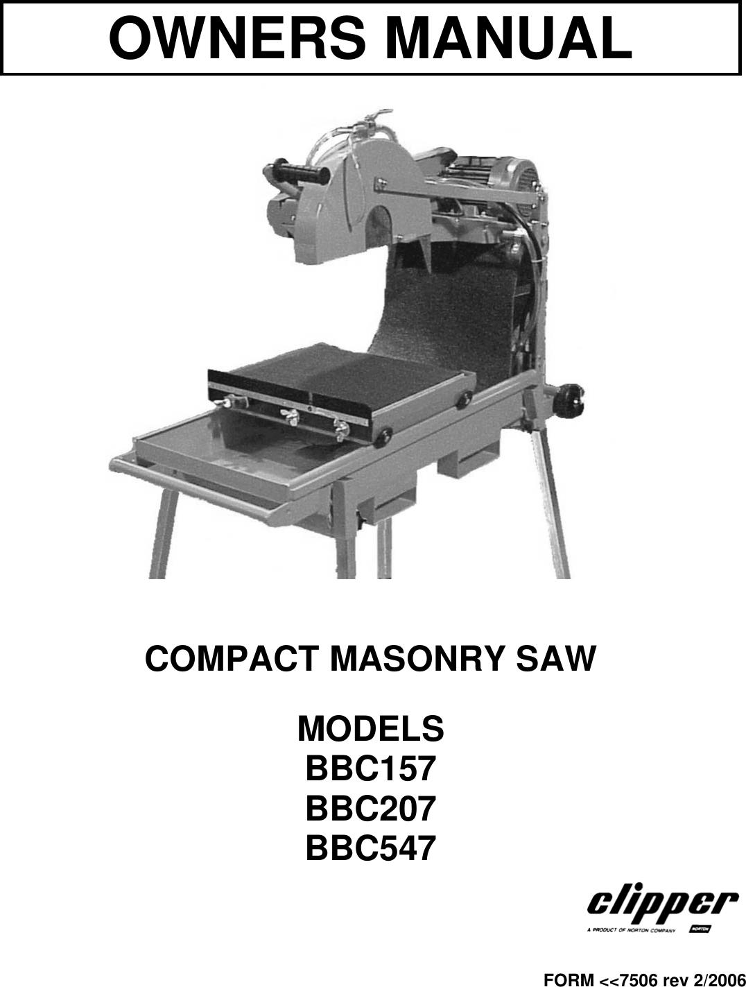 Norton Clipper Wiring Diagram Trusted Diagrams Abrasives Compact Masonry Saw Bbc157 Users Manual Bbc547 Rev Whelen Light Bar