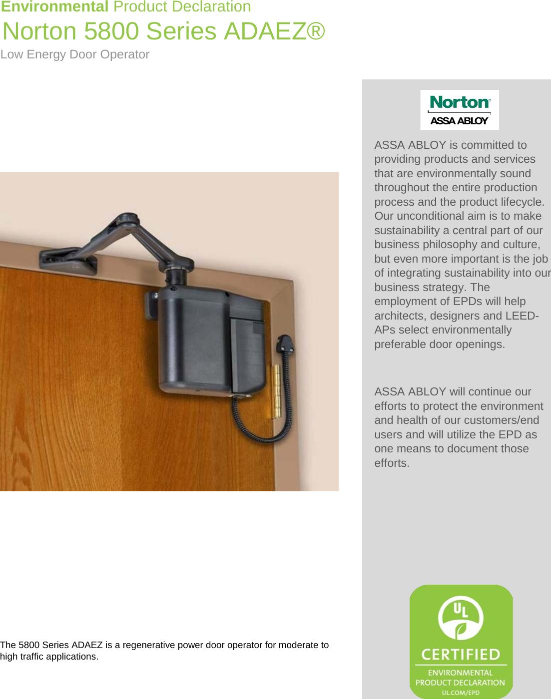Norton 5800 Series ADAEZ Low Energy Door Operator Environment Product Declaration (EPD) 139.1 ASSA ABLOY EPD  sc 1 st  UserManual.wiki & Norton 5800 Series ADAEZ Low Energy Door Operator Environment ...