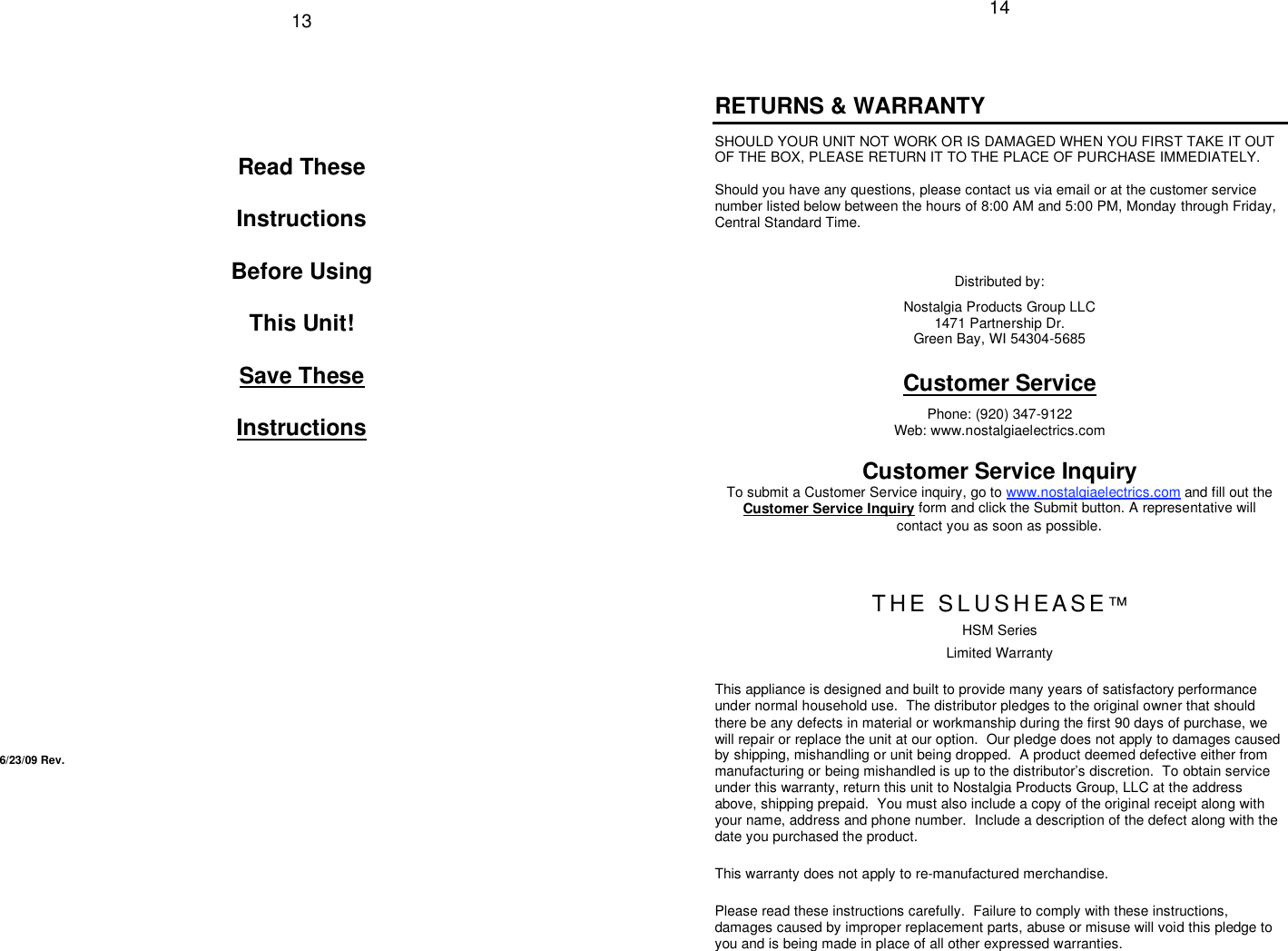 Nostalgia Electrics Slushease Hsm 245 Users Manual Series Eng 6 23 09 Page 2 Of