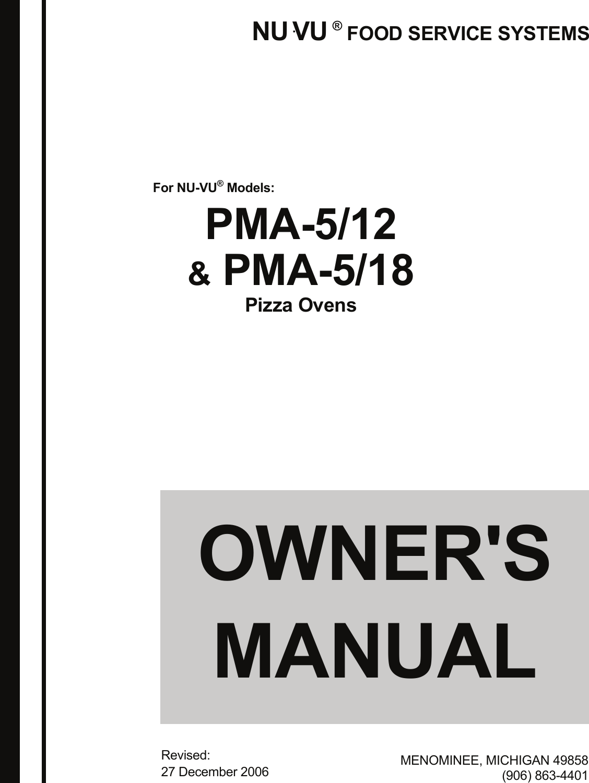Nu Vu Oven Pma 5 12 Users Manual 5,1218 07A