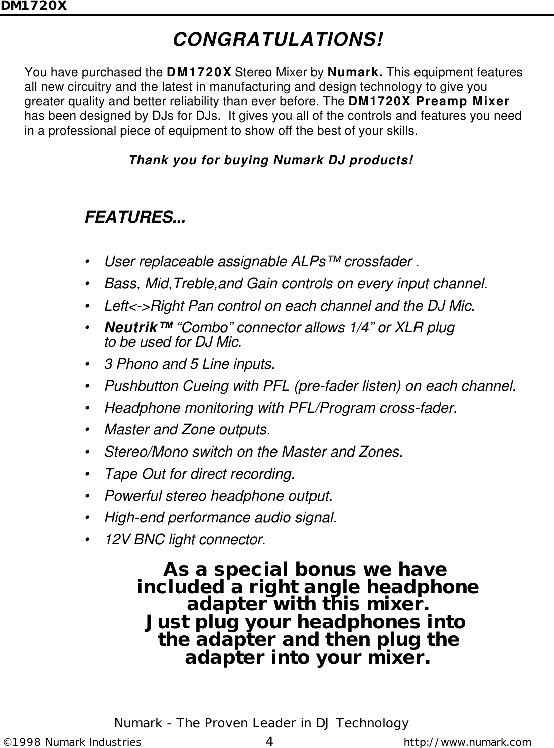 Numark Industries Dm1720X Users Manual