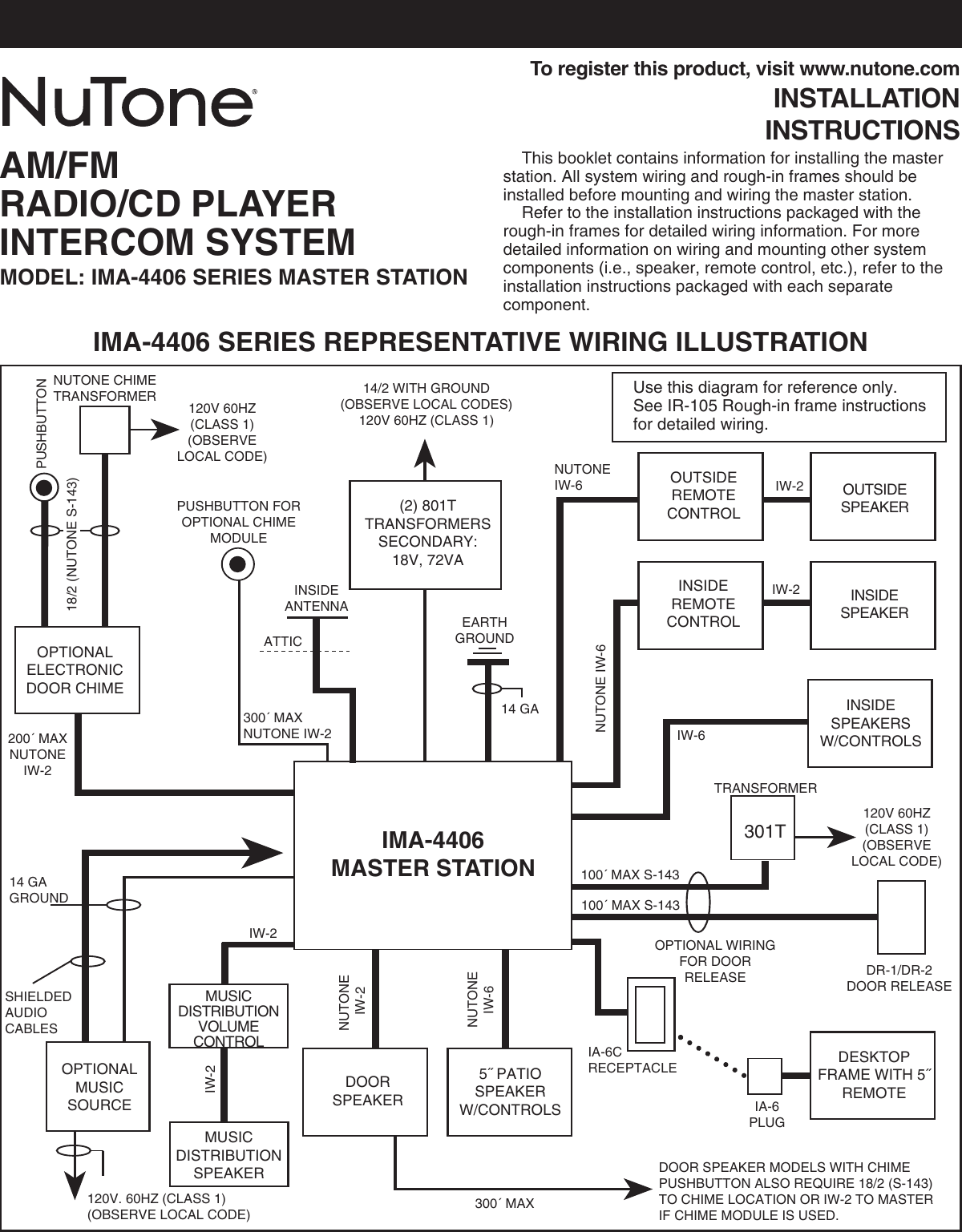 Nutone Ima4406 Users Manual 62377 Ima 4406 Ii Musical Chime Wiring Diagram