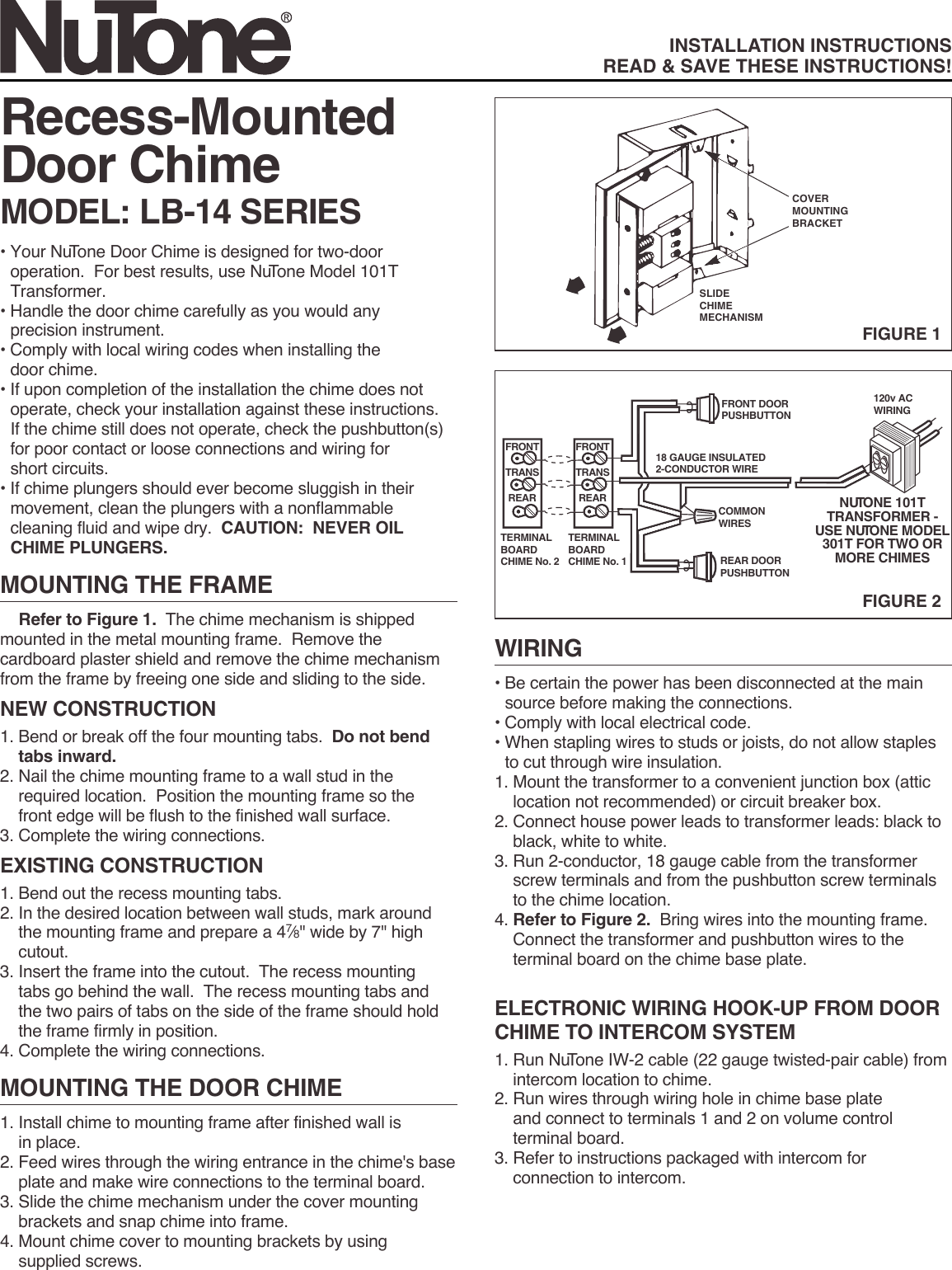 Nutone Lb 14 Users Manual 84568lb 14wh Wiring Door Chimes In Parallel