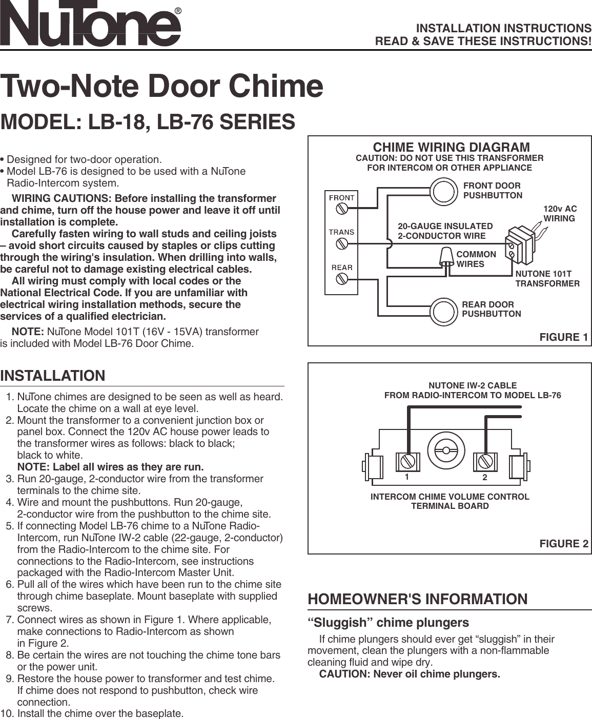 Pleasing Nutone Lb 18 Users Manual 53192 2 Note Chime Wiring 101 Olytiaxxcnl
