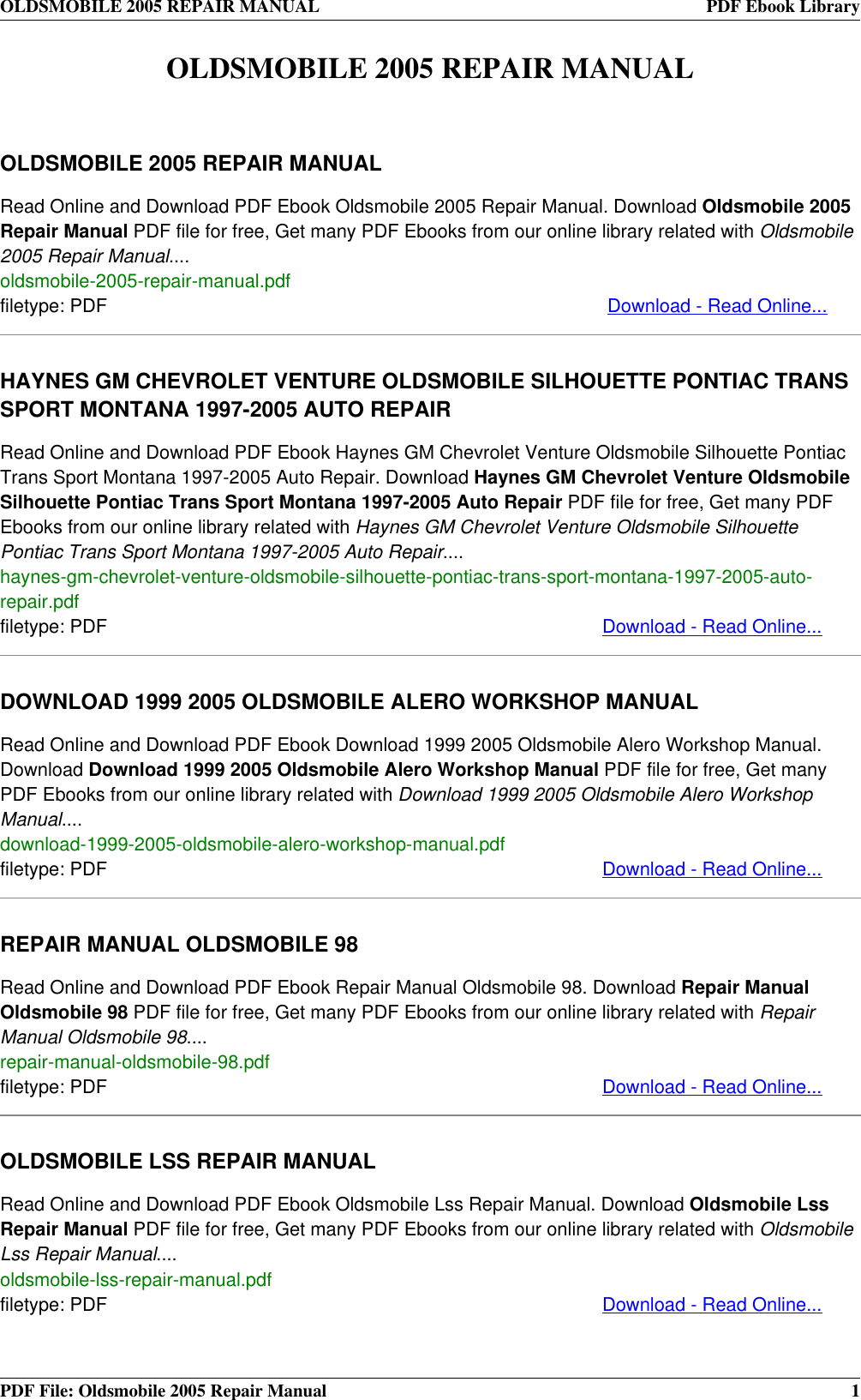 Chevrolet online repair user manuals user manuals array oldsmobile automobile 2005 users manual repair rh usermanual wiki fandeluxe Image collections