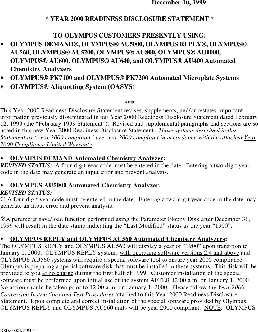 Olympus Au400 Users Manual