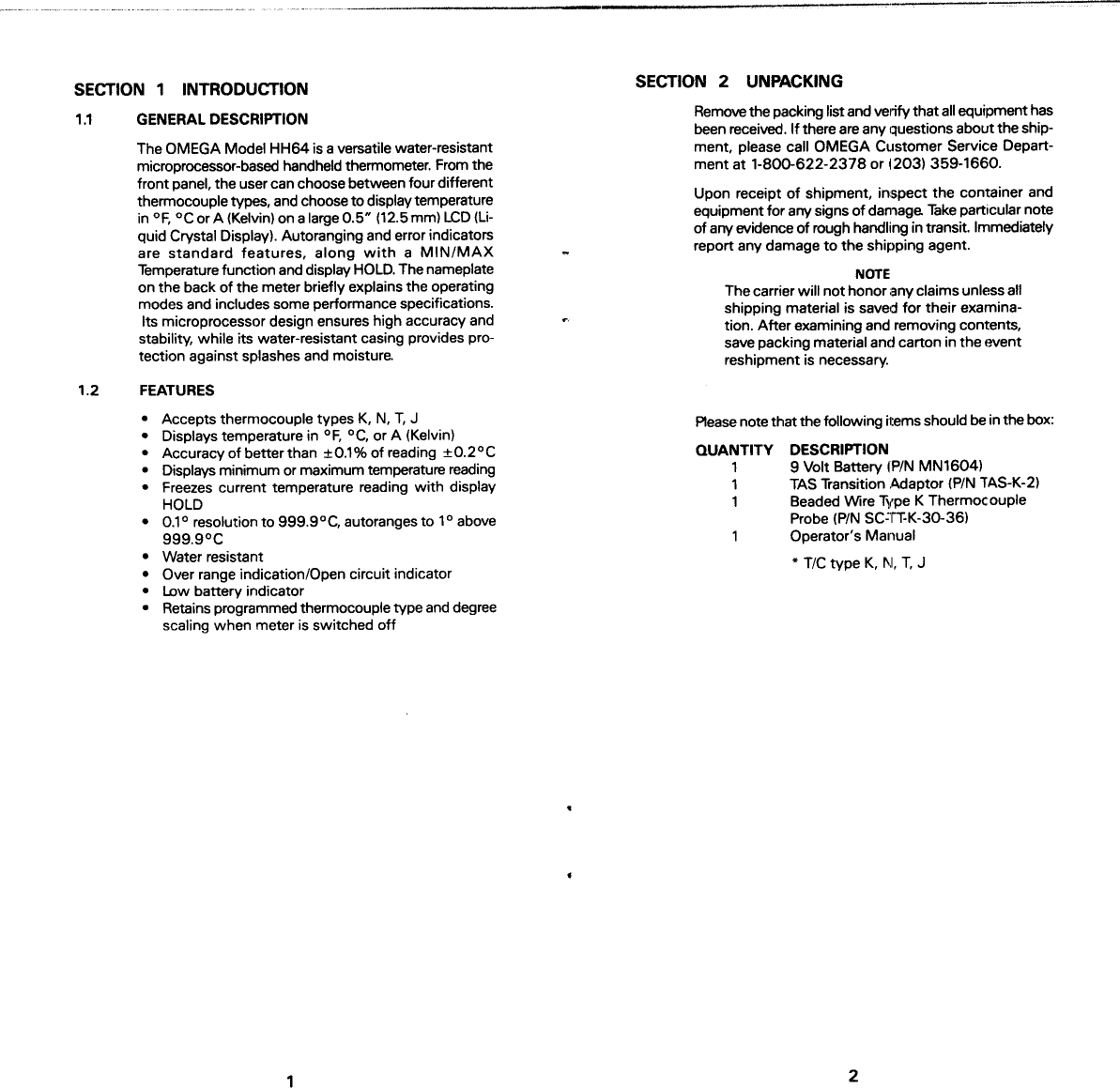 Omega Engineering Hh64 Users Manual Low Battery Indicator Circuit Page 3 Of 7