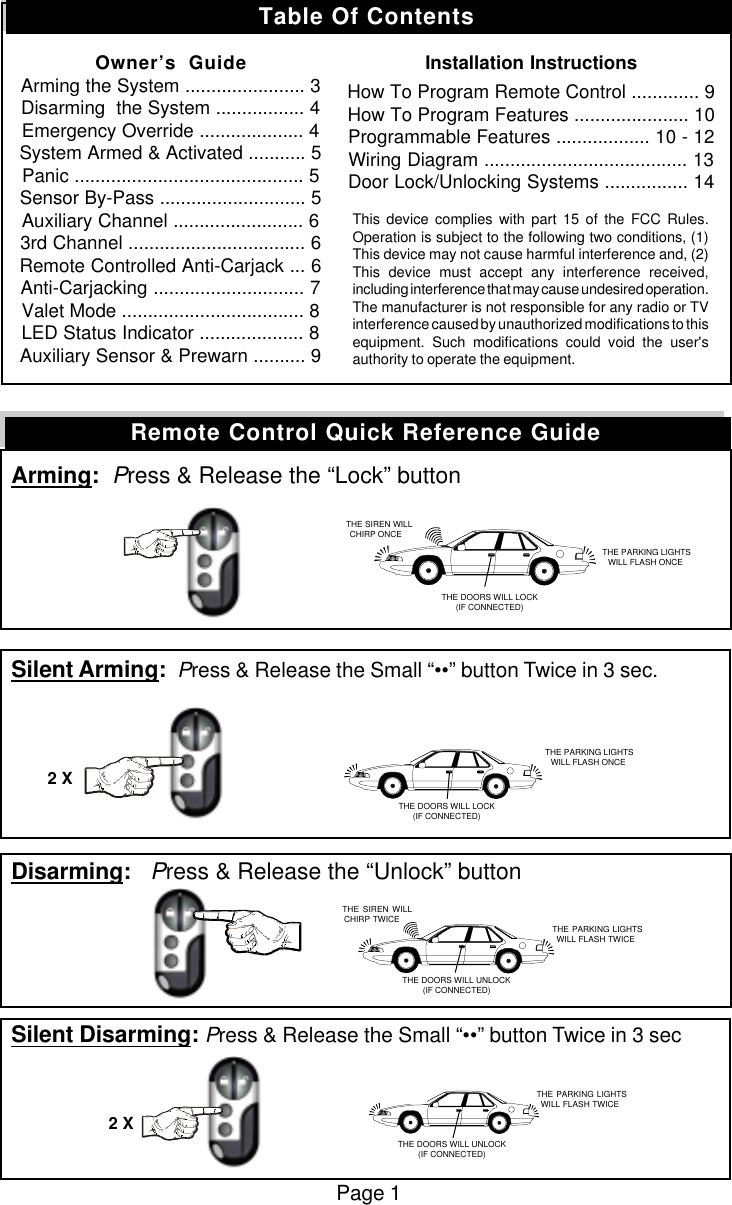 Omega Research And Development 449 Keyless Entry Security User Wiring Diagram Manual 1