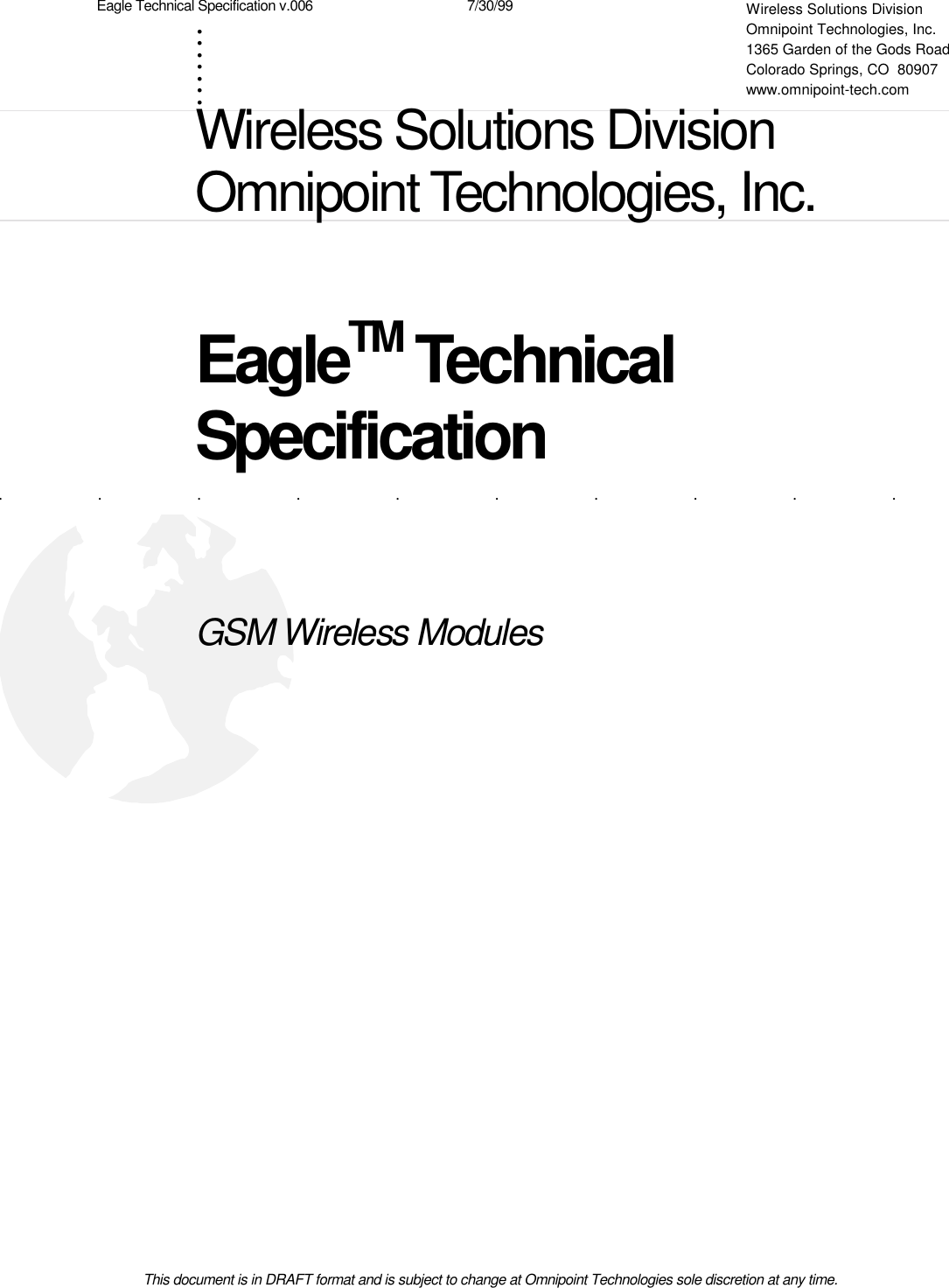 Omnipoint Technologies Orporated Rm1900 1 Gsm Pcs1900 Radio Module Schematic Available In Pdf And Eagle Formats The Technical Specification V006 7 30 99this Document Is Draft Format
