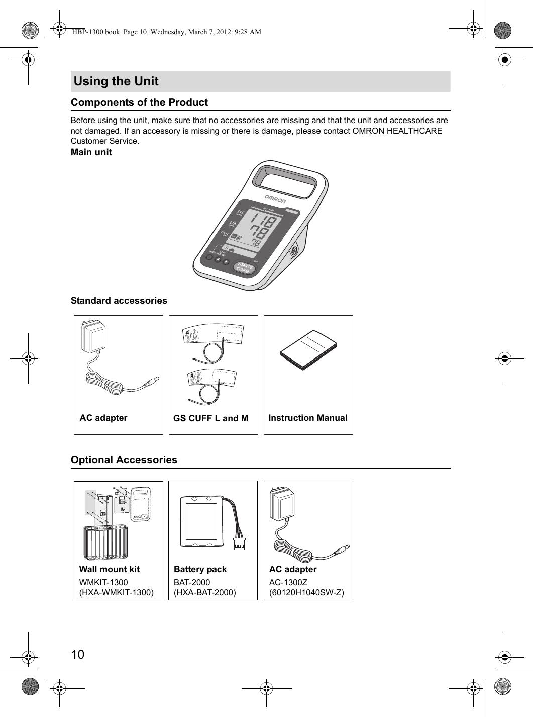 Omron Hbp 1300 Users Manual