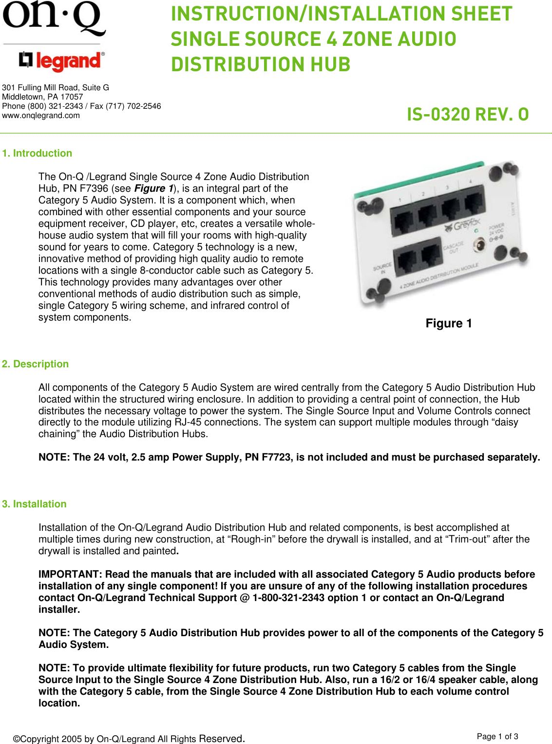 On Q Legrand Switch Is 0320 Rev O Users Manual Structured Wiring Enclosures