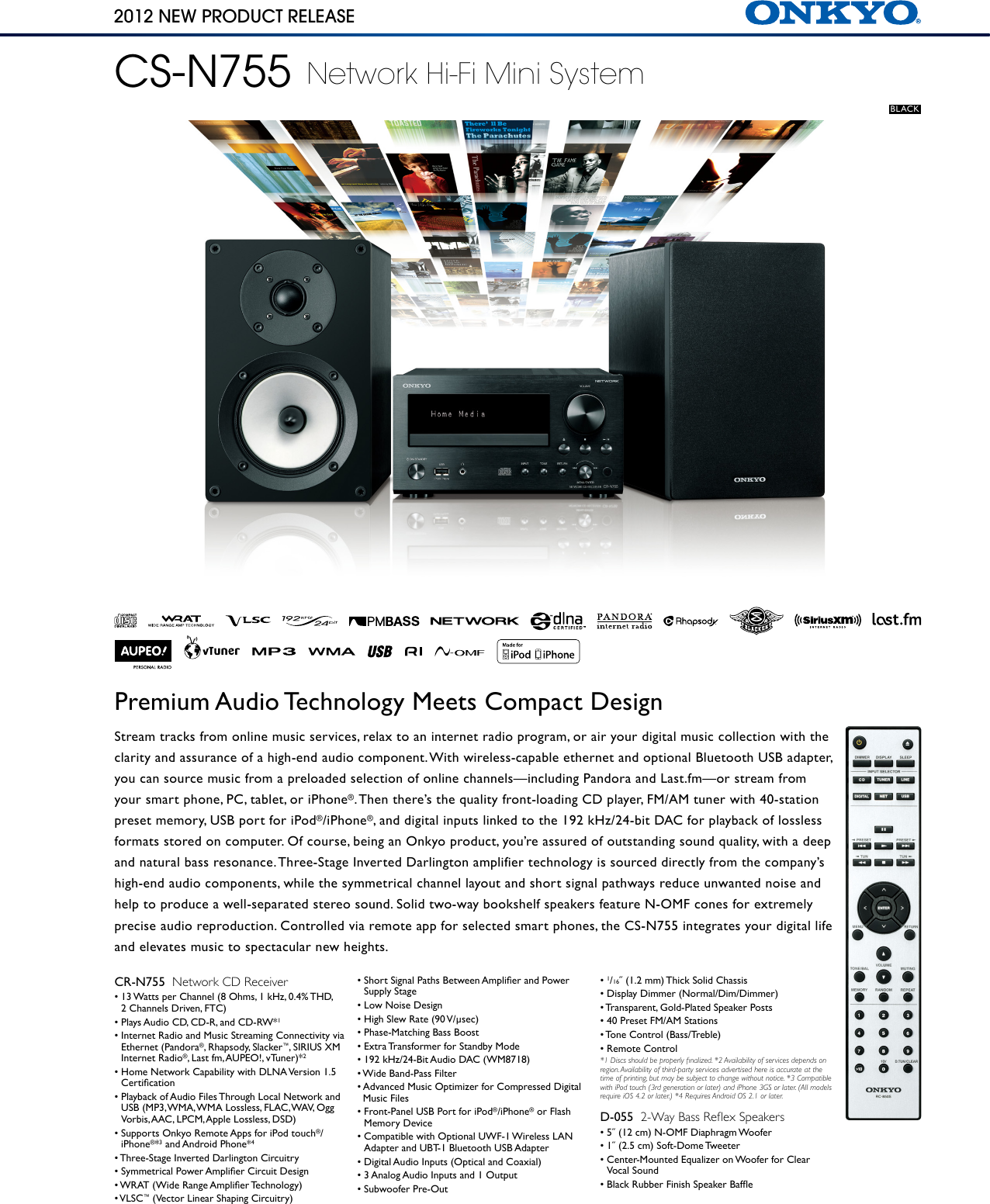 Onkyo Cs N755 Product Sheet
