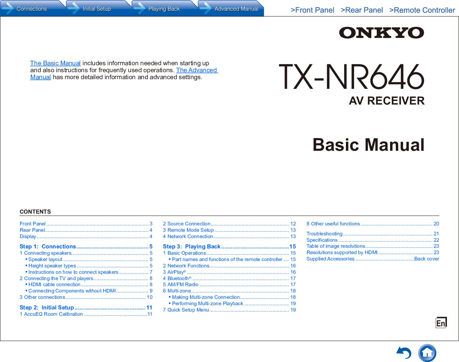 Onkyo TX NR646 User Manual To The 2e4cd45c 1a9f 4b2e a023 6e0d45e58947