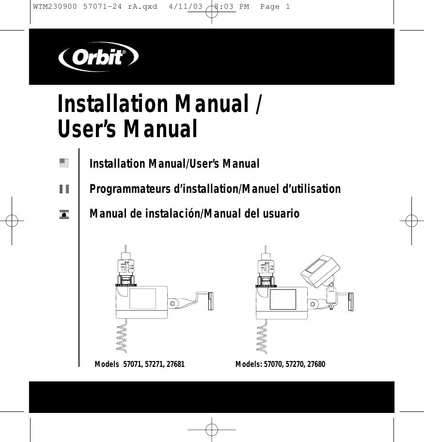 Orbit Irrigation Product Rx2 Rf Rain Sensor And Freeze Tx Wiring Instructions User Manual