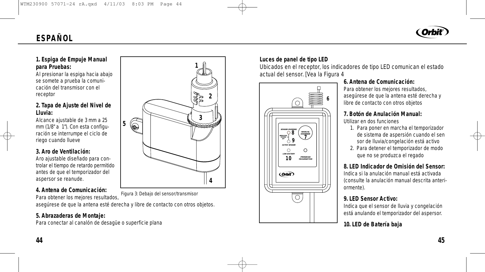 Orbit Irrigation Product Rx2 Rf Rain Sensor And Freeze Tx Controller Wiring Diagram 45espaol441 Espiga De Empuje Manualpara Pruebas Al Presionar La Hacia Abajose Somete A
