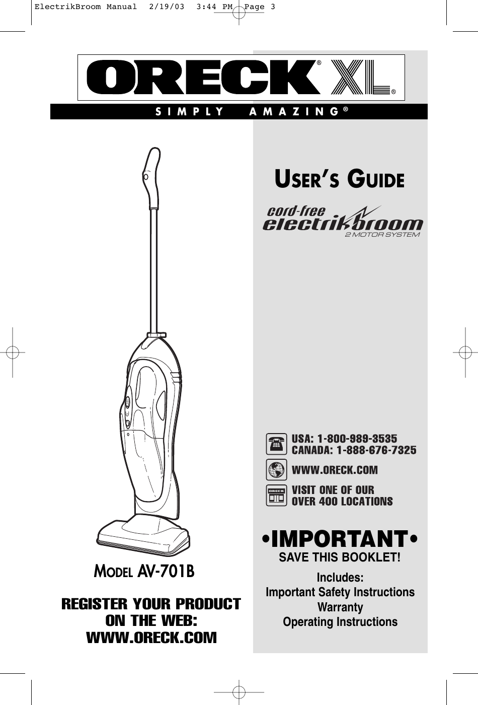 Oreck Av 701b Users Manual Electrikbroom Hand Vacuum Wiring Diagram