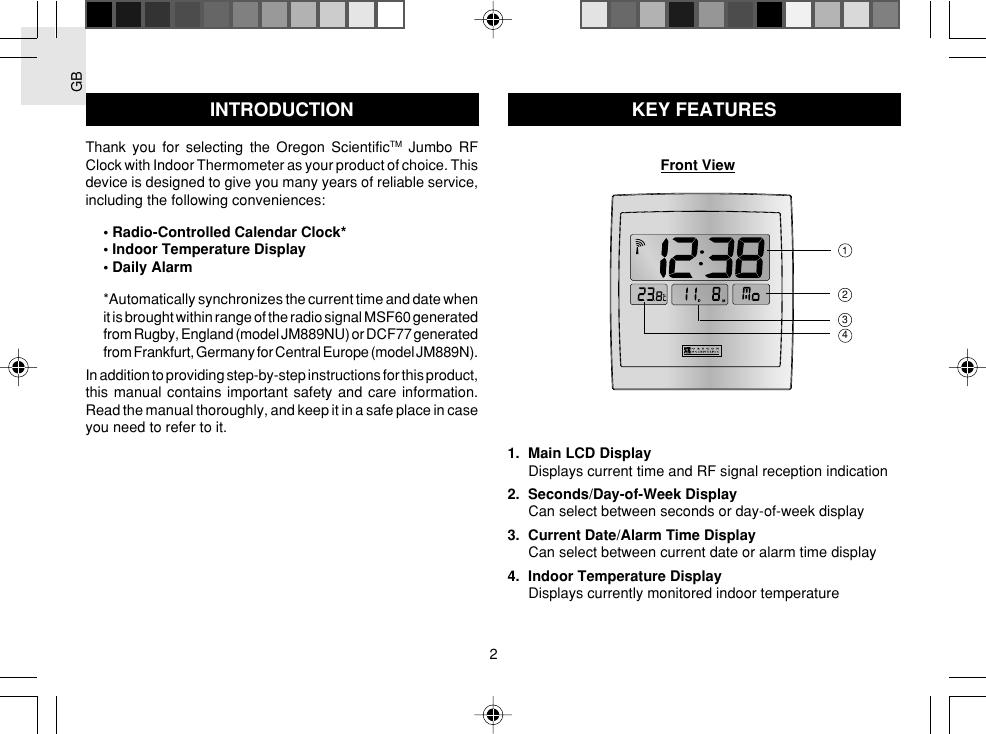 Oregon Scientific Jumbo Rf Clock Jm889N Users Manual JM889N/889NU ...
