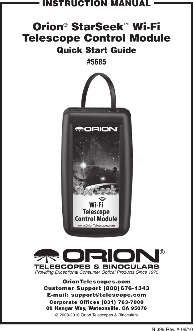 Orion Starseek 5685 Users Manual