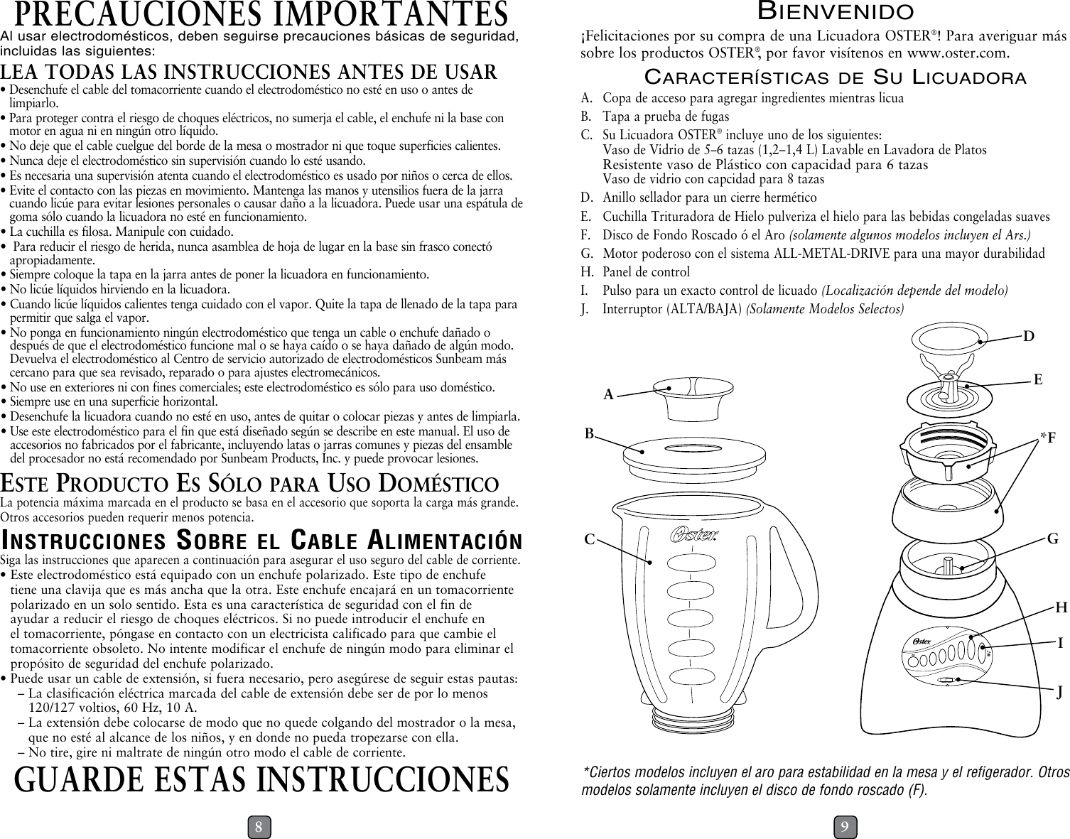 Oster Blender Container Bottom Manual Guide