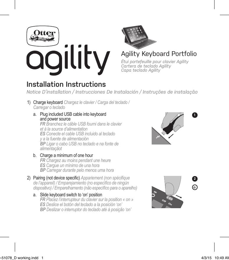 free shipping 8a6a5 bf345 Otter OBFTC0005-A OtterBox Agility Keyboard Portfollo User Manual