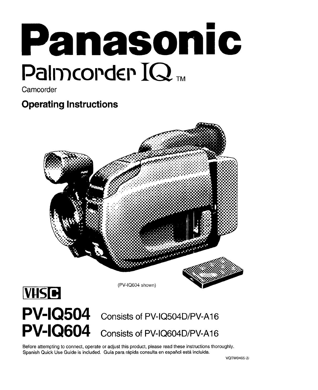 Panasonic Compact Vhs C Camcorder Manual 97100148