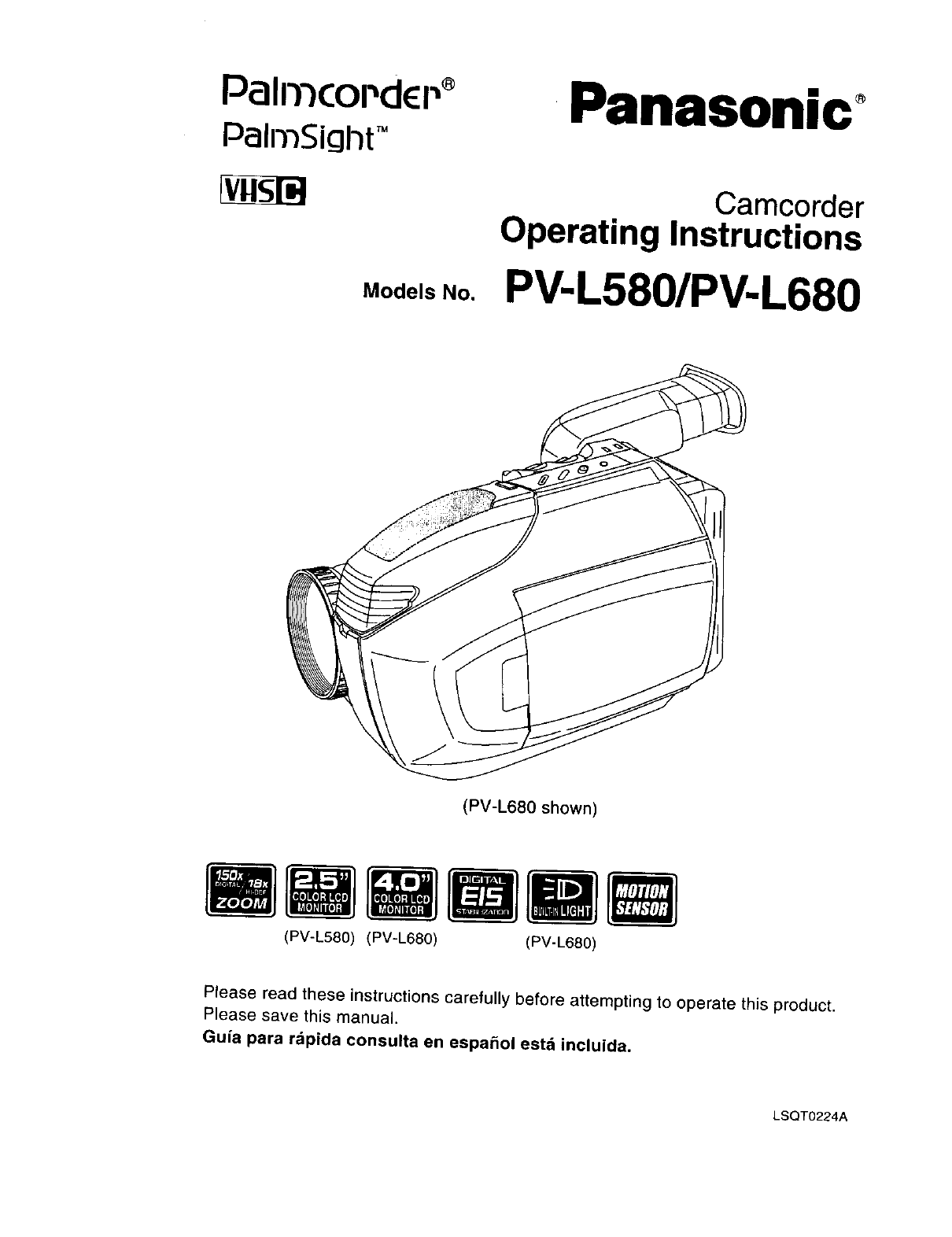 PANASONIC Compact VHS C Camcorder Manual L0030023