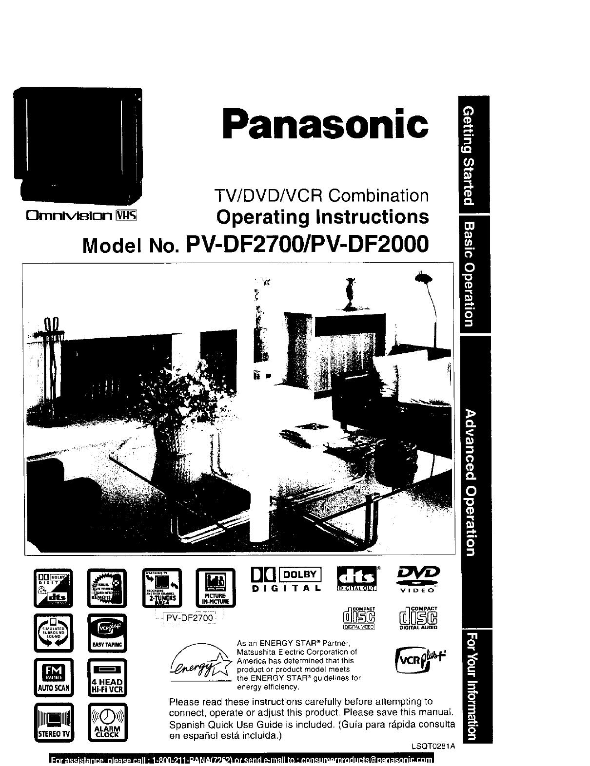 PANASONIC TV/VCR Or DVD Combo Manual L0103003